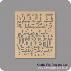 3mm MDF Mother Amazing Inspiring Loving Caring Wonderful - in frame Mother's Day