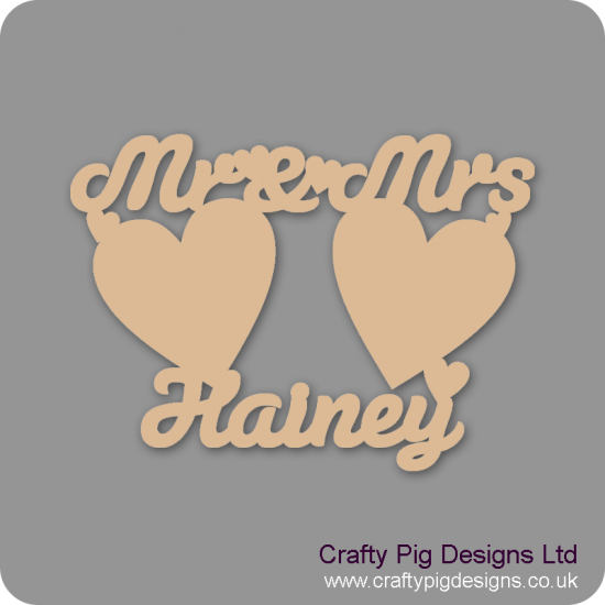 3mm MDF Mr And Mrs Sign With 2 Large Hearts And Surname Personalisation