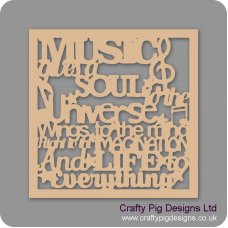 3mm MDF Music Gives A Soul To The Universe With Border Quotes & Phrases