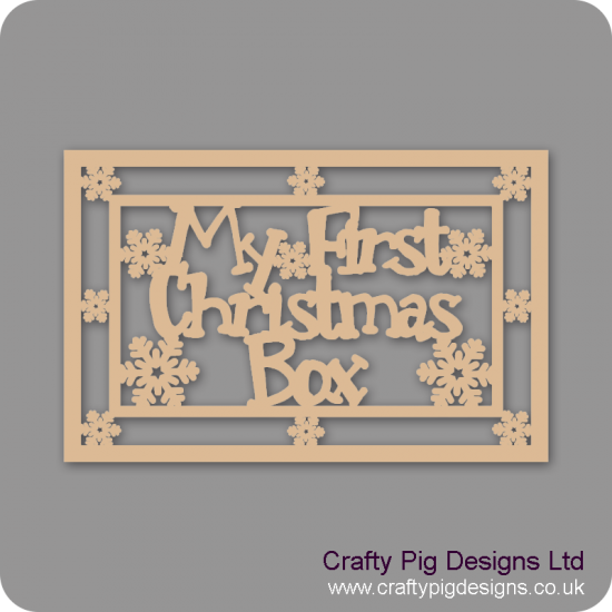 3mm MDF Rectangular My First Christmas Box Topper - With Snowflake Border