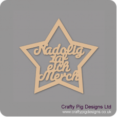 3mm MDF Nadolig 1 af eich Merch in Country Star Christmas Shapes