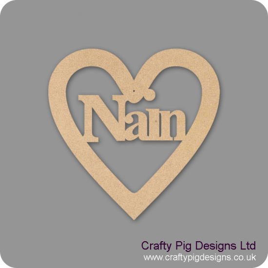 3mm MDF Nain Heart Hearts With Words