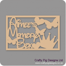 3mm MDF Rectangular Name's Memory Box Topper - Personalised With Butterflies, Heart And Crown Personalised and Bespoke
