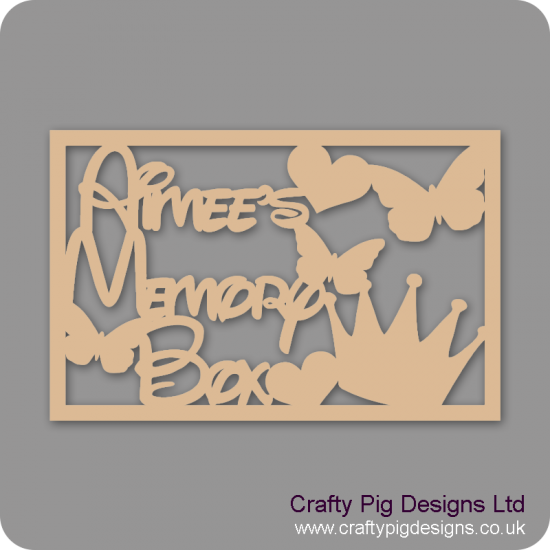 3mm MDF Rectangular Name's Memory Box Topper - Personalised With Butterflies, Heart And Crown