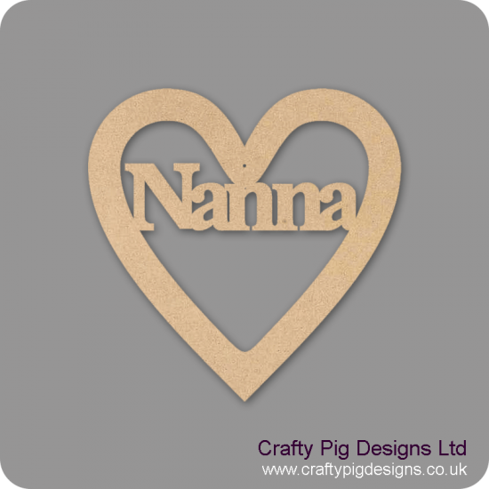 3mm MDF Nanna Heart Hearts With Words