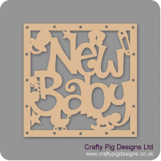 3mm MDF Square  New Baby With Shapes Box Topper - With Star Cut Out Border Baby Shapes