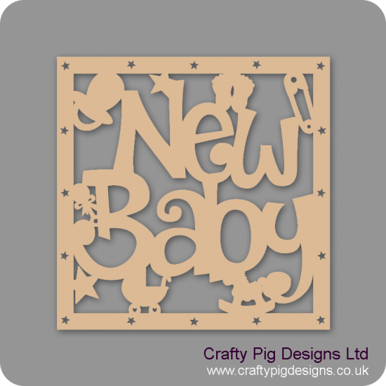 3mm MDF Square  New Baby With Shapes Box Topper - With Star Cut Out Border