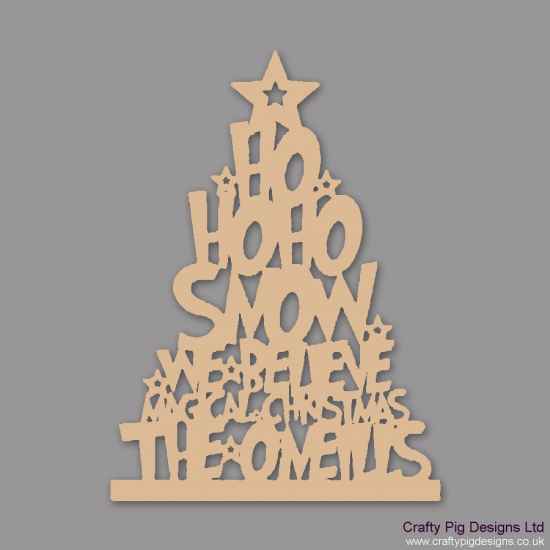 3mm MDF New Style Funky Font Family Name Christmas Tree Christmas Shapes