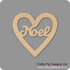 3mm MDF Christmas Heart With Noel In Susa Font Christmas Shapes