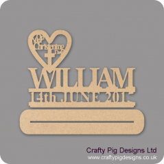 3mm MDF On Your Christening Day Heart With Name & Date Plinth