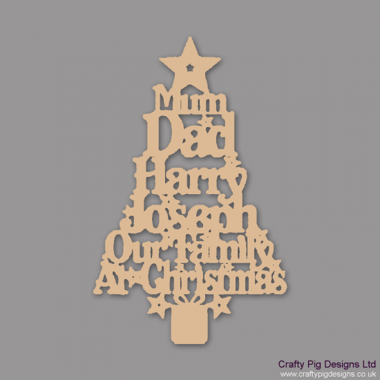 3mm MDF Our Family Christmas Word Tree Christmas Shapes
