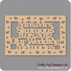 3mm MDF Rectangular Box Topper - Our Wedding Memories Box topper - personalised with surname & date Personalised and Bespoke