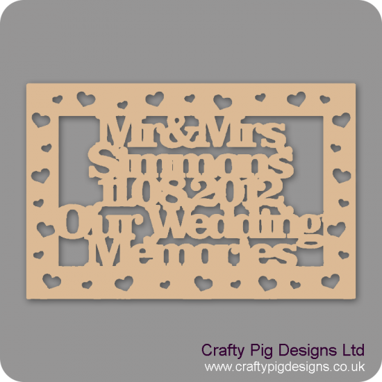 3mm MDF Rectangular Box Topper  Our Wedding Memories - personalised with surname and date Personalised and Bespoke
