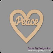 3mm MDF Peace Heart Christmas Shapes