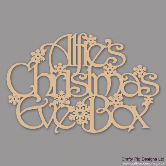3mm MDF Rectangular Personalised Christmas Eve Box Topper With Snowflakes Personalised and Bespoke