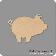 3mm MDF Pig With Curly Tail Small MDF Embellishments