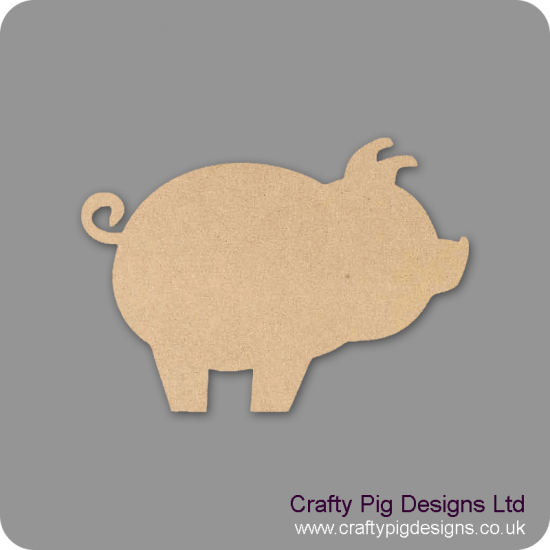 3mm MDF Pig With Curly Tail