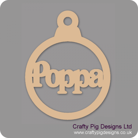 3mm MDF Poppa Bauble Christmas Baubles