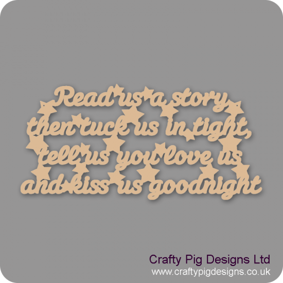 3mm MDF Read US A Story, Tuck US In Tight Plaque Baby Shapes