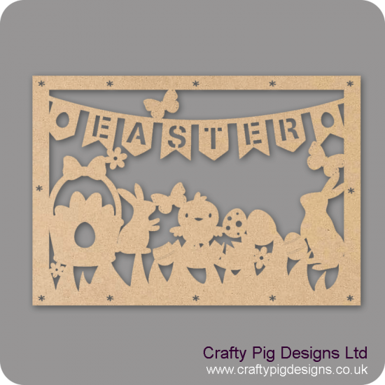 3mm MDF Wide Easter Cut Out Plaque Easter