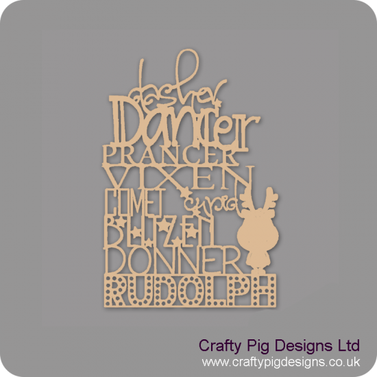 3mm MDF Reindeer Sign With Rudolph Standing
