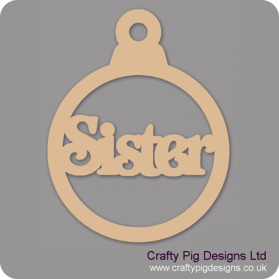 3mm MDF Sister Bauble Christmas Baubles