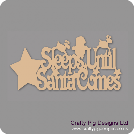 3mm MDF Sleeps Until Santa Comes Plaque With Star/Reindeer And Santa Chalkboard Countdown Plaques