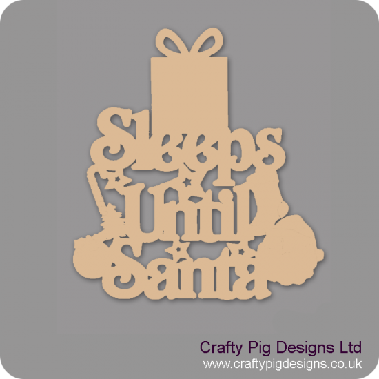 3mm MDF Sleeps Until Santa Plaque With Gift Box Top Chalkboard Countdown Plaques