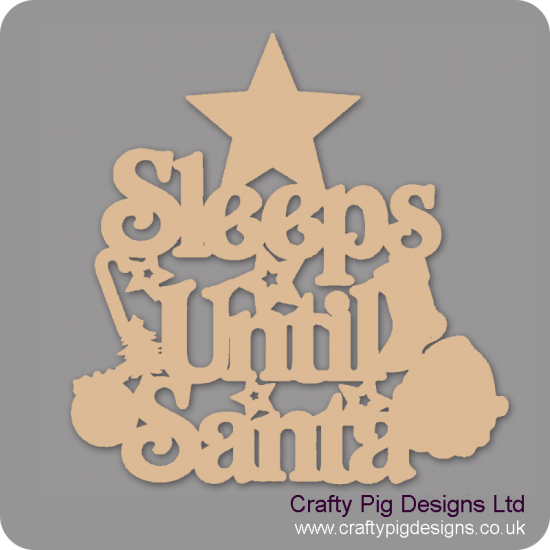 3mm MDF Sleeps Until Santa Plaque with Star Top Chalkboard Countdown Plaques