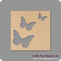 25cm Square Plaque With 3 Different Sized Butterflies Cut Out