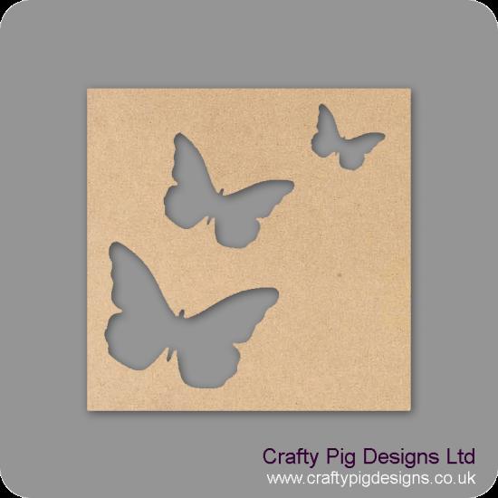 25cm Square Plaque With 3 Different Sized Butterflies Cut Out Basic Plaque Shapes