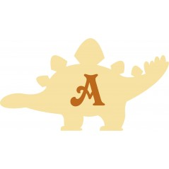 3mm MDF 2 Piece Stegasaurus Dinosaur Bunting (single with letter) Bunting