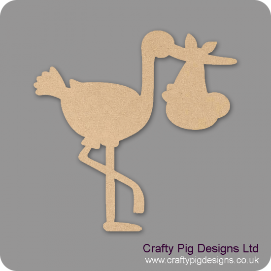 3mm MDF Stork With Baby Baby Shapes