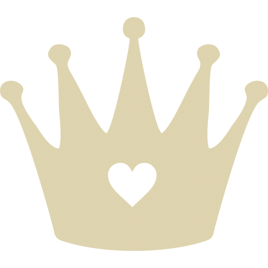 3mm MDF Tall Crown with heart cut out
