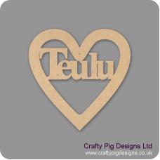 3mm MDF Teulu Cut Out Heart (150mm) Hearts With Words