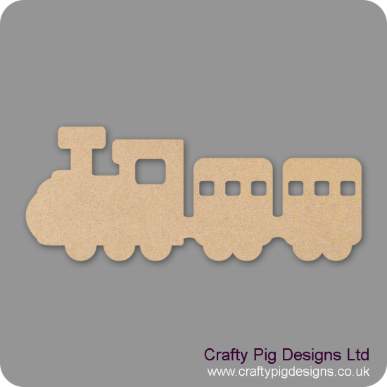 3mm MDF Train and Carriages (Engine and two carriages) Transport