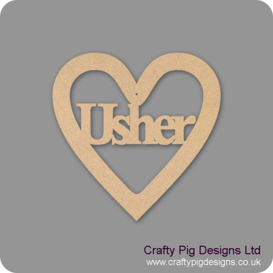 3mm MDF Usher Wedding Heart Wedding