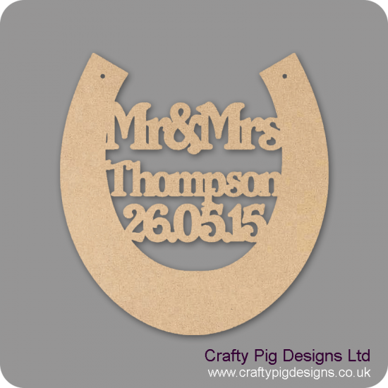3mm MDF Wedding Horseshoe (personalised with surname and date)