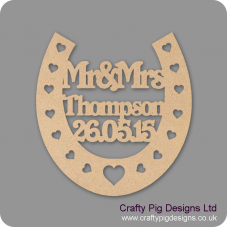 3mm MDF Wedding Horseshoe with heart cut outs (personalised with surname and date)