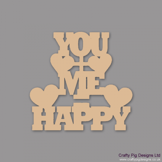 3mm MDF You+Me = Happy Valentines