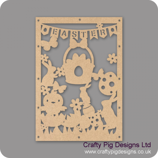 3mm MDF Tall Easter Cut Out Plaque Easter