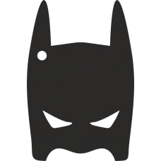 Black Acrylic Superhero Full Mask (10cm) (with 1 hole) Fathers Day