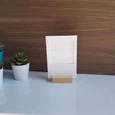 3mm White Acrylic Polaroid Holder with pine Stand - Small Photo Frames