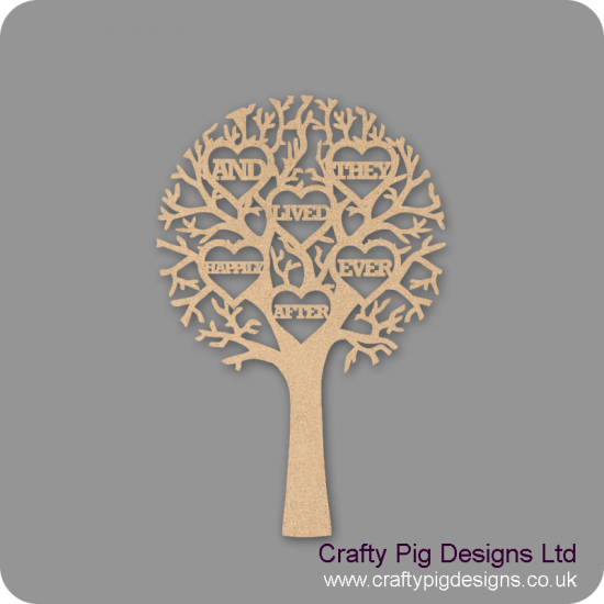"""3mm MDF """"AND THEY LIVED HAPPILY EVER AFTER"""" - Cut Out Tree  Trees Freestanding, Flat & Kits"""