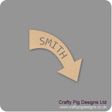 3mm mdf  Personalised Curved Arrow by width (name cut out) Basic Shapes