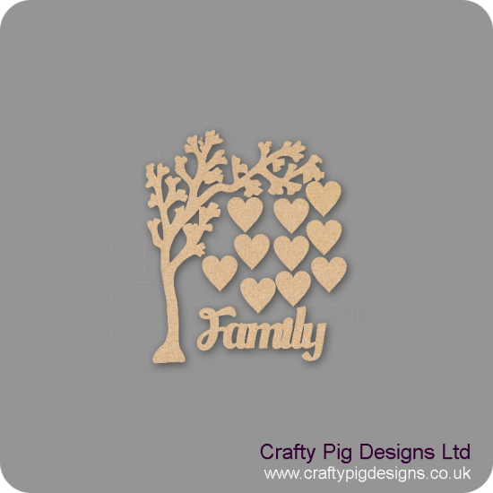 3mm MDF Arched Bough Family Tree Pack Kit Standard Hearts Trees Freestanding, Flat & Kits