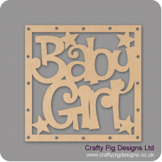 3mm MDF Square Baby Girl Plain Box Topper - with star cut out border Baby Shapes