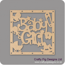 3mm MDF Square Baby Girl With Shapes Box Topper - with star cut out border Baby Shapes