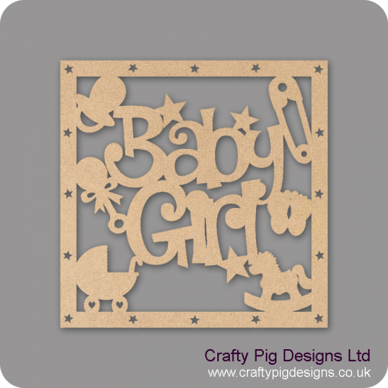 3mm MDF Square Baby Girl With Shapes Box Topper - with star cut out border