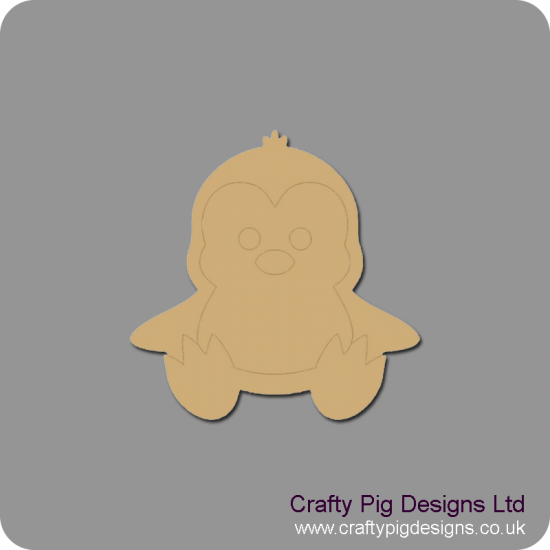 3mm MDF Baby Penguin Christmas Shapes